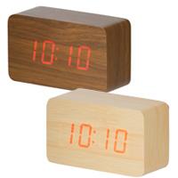 時計 記念品名入れ ウッド調LEDクロック